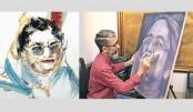 Artworks depict eventful life of Sheikh Hasina