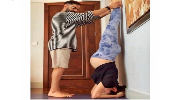 Virat Kohli helping Anushka Sharma with Pregnancy Yoga