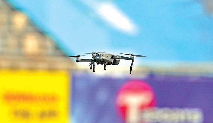 A drone flies as a test-run