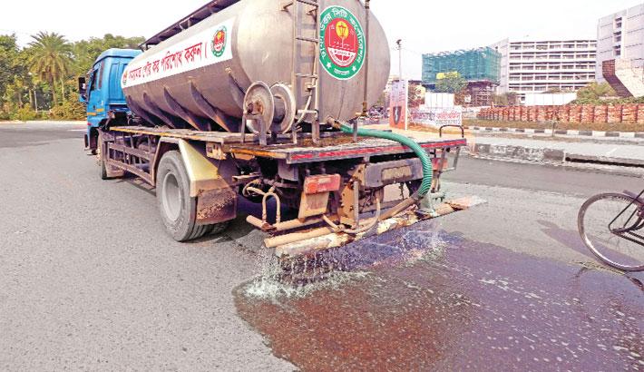 Dhaka North City Corporation (DNCC) authorities spray