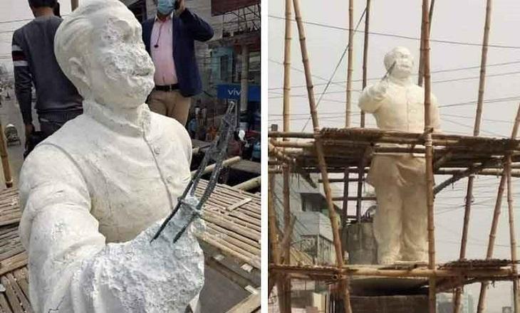 Miscreants vandalize Bangabandhu`s sculpture in Kushtia