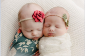 Twin sisters born to two different mothers, eight weeks and 750 miles apart