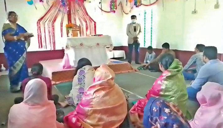 Christian devotees offer prayers on the Christmas