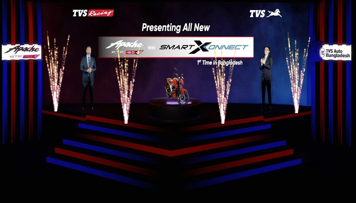 TVS Motor Company launches TVS Apache RTR 160 4V with Bluetooth enabled TVS SmartXonnect in Bangladesh