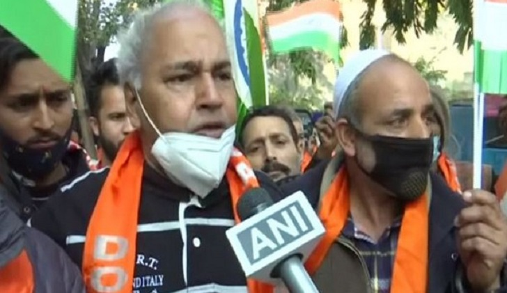 Dogra Front activists in Jammu protest against demolition of Hindu temple in Pakistan
