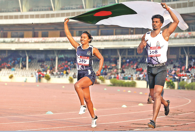 Ismail, Shirin defend titles in 100m, Ritu sets new record in high jump