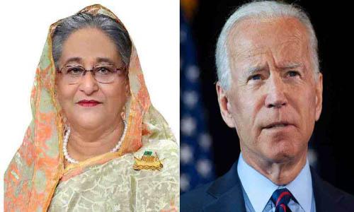 Sheikh Hasina greets Joe Biden