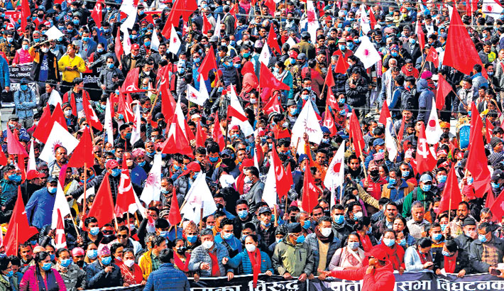 Protesters take part in a demonstration in Kathmandu