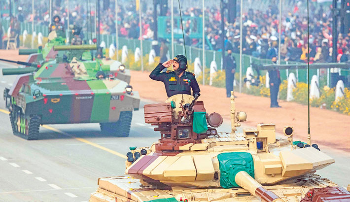 Rehearsal for the upcoming Republic Day Parade
