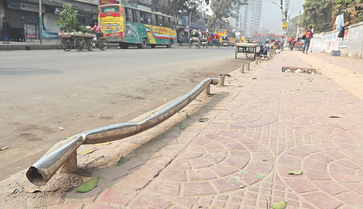 Steel fence on a footpath of Azimpur Road