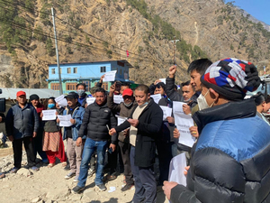 Nepalese businessmen launch protests against China's blockade of cross-border trade