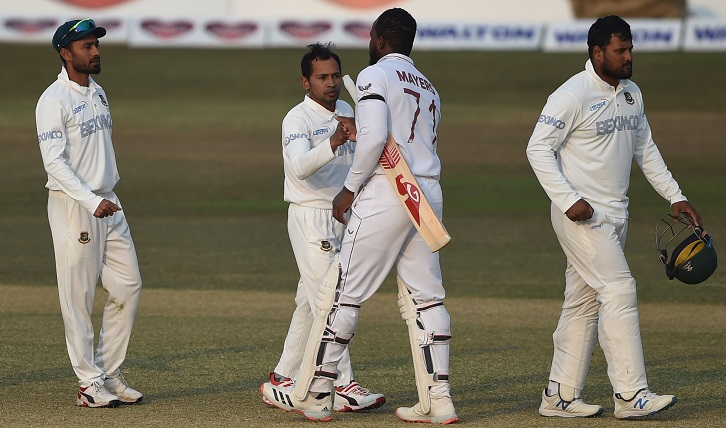 West Indies beat Bangladesh by three wickets in first Test