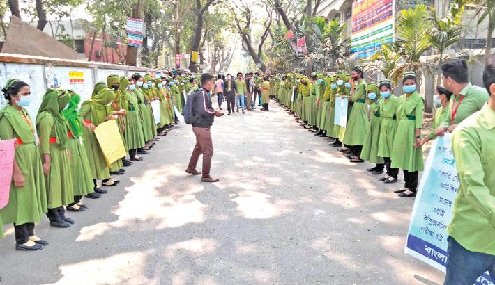Nursing students stage demo in Joypurhat
