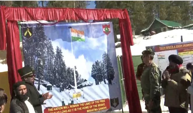 Indian Army lays foundation of 100 feet tall national flag in Jammu and Kashmir