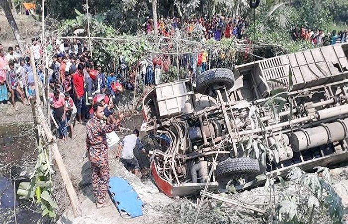2 women killed, 30 hurt as bus falls into ditch in Chandpur