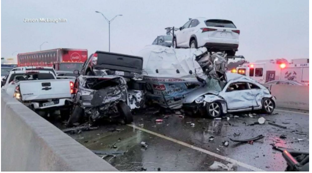 At least 6 dead in massive Texas crash involving over 100 cars