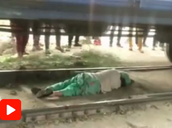 How woman escaped being crushed under moving train in Haryana (Watch)