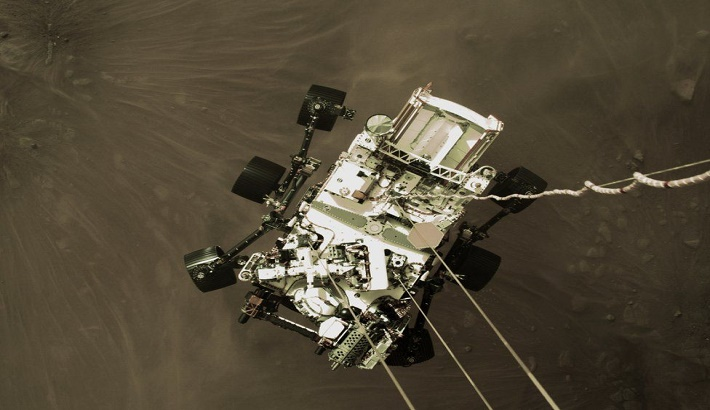 Mars landing: Photo shows Perseverance about to touch down