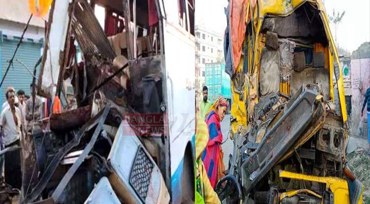 6 dead in bus-truck collision in Bogura