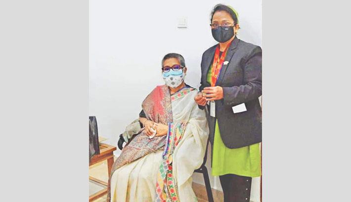 Sheikh Rehana gets Covid-19 vaccine