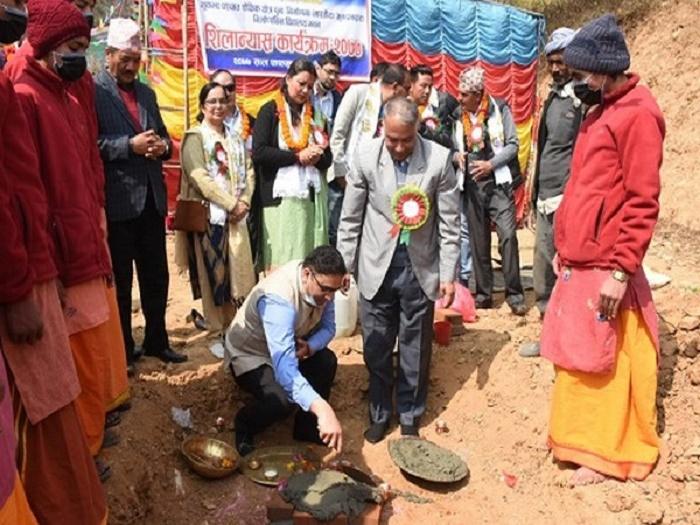Reconstruction work of 66th school under Indian aid begins in Nepal's Dakshinkali