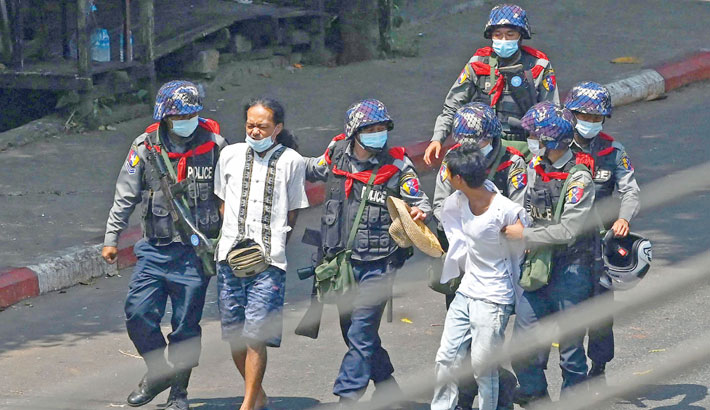 Myanmar police launch crackdown on protests