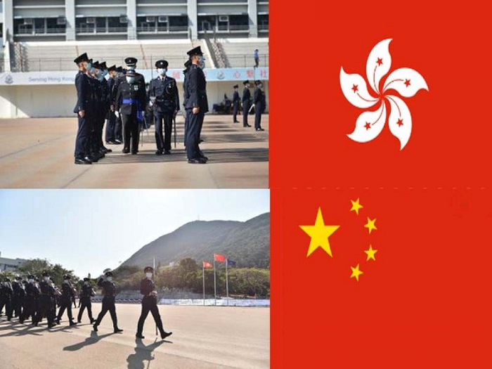 People's Liberation Army is training Hong Kong Police officers on Chinese-style marching for handover events next year