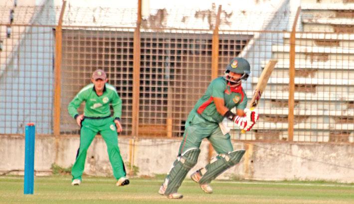 Bangladesh Emerging team batsman Shamim Hossain Patwari plays