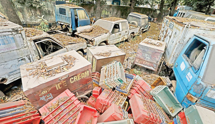 Old vehicles and plastic containers of Milkvita are getting damaged