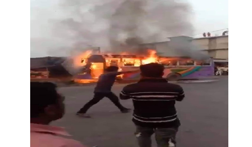 Three killed as bus goes up in flames in Cumilla