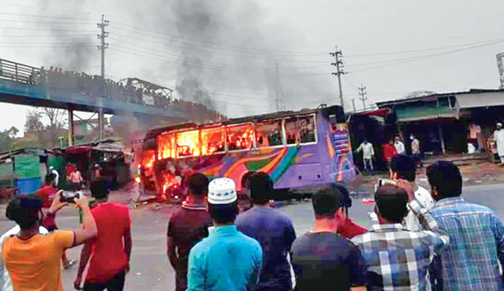 Three killed as bus goes up in flames