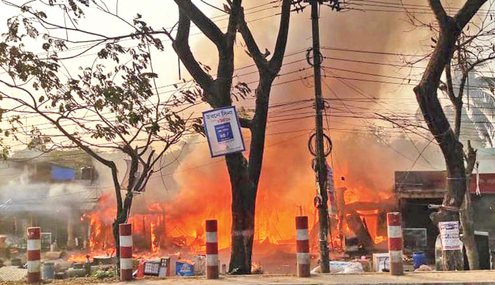 Shops, buses gutted by Ctg fire