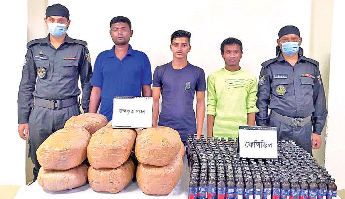 RAB members produce three drug traders before journalists