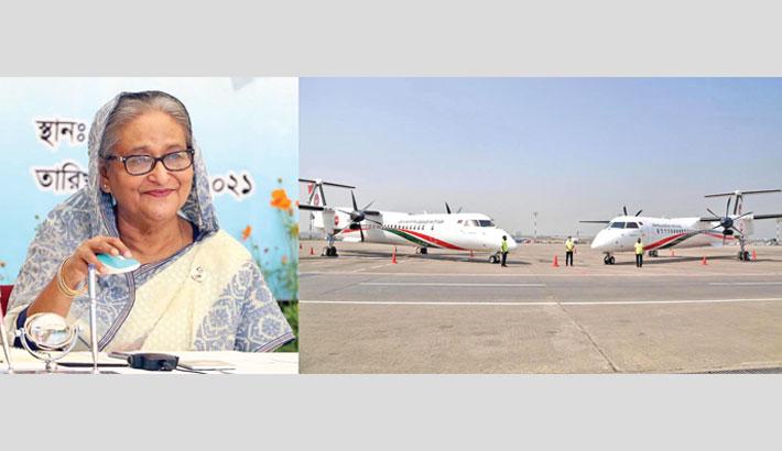 PM inducts 2 new Dash aircraft in Biman's fleet
