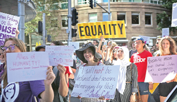 Thousands protest for gender equality in Australia