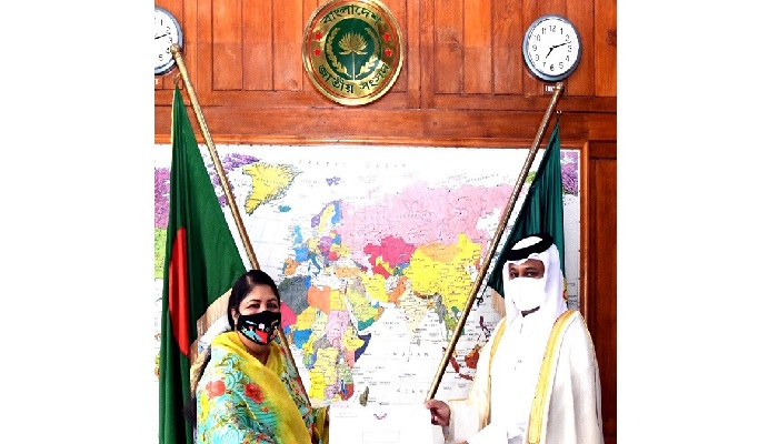 Qatar Ambassador makes courtesy call on Speaker Dr Shirin Sharmin