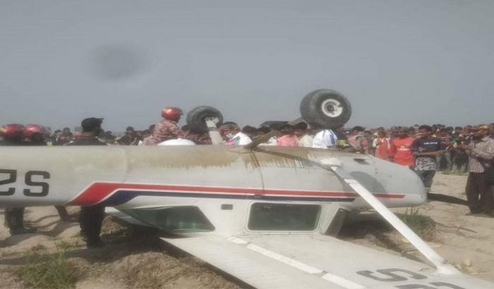 Training aircraft crashed in Rajshahi