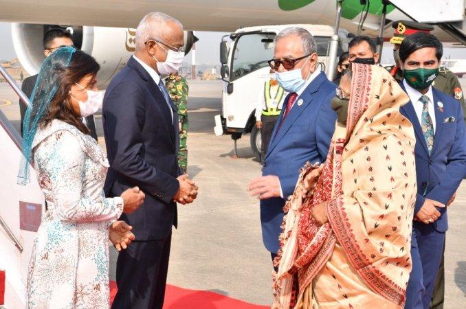 Maldives President Ibrahim Mohamed Solih arrives