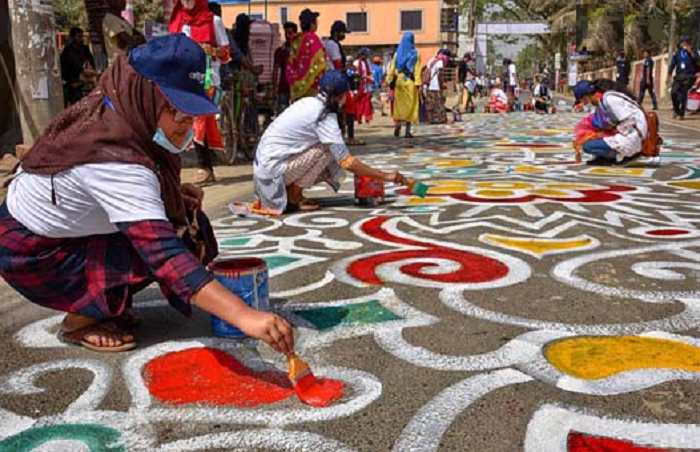 Alpana festival on 10-km road in Gaibandha begins