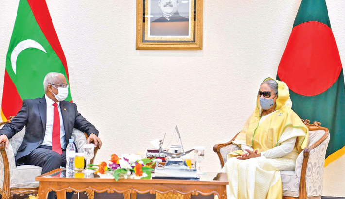 Maldivian President meets PM Sheikh Hasina