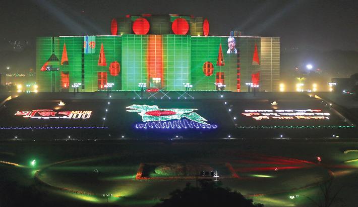 Jatiya Sangsad Bhaban has been decorated on the birth centenary of Bangabandhu