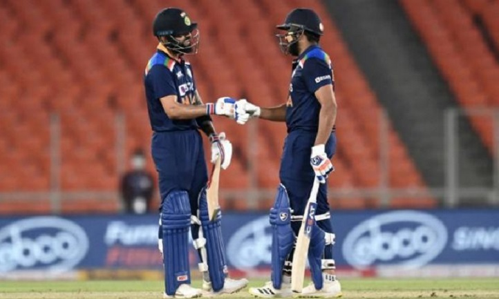 Sharma, Kohli fire India to record 224-2 in T20 England decider