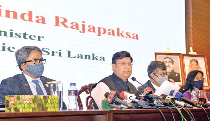 Foreign Minister Dr AK Abdul Momen briefs journalists on the visit of Sri Lankan Prime Minister Mahinda Rajapaksa