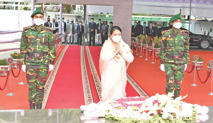 A wreath at the portrait of the great leader at the Bangabandhu
