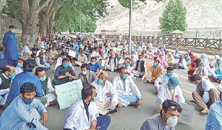 Gilgit Baltistan doctors protest after being denied regularisation, post-graduation admission