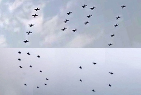 BAF aircraft formed 101 and 50 in sky