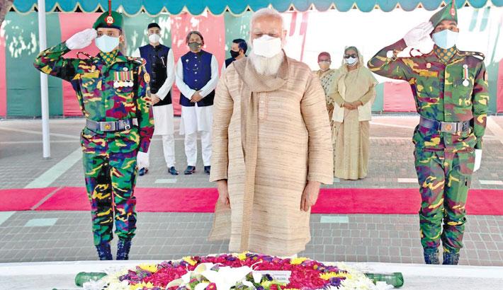 Modi pays homage to Bangabandhu in Tungipara