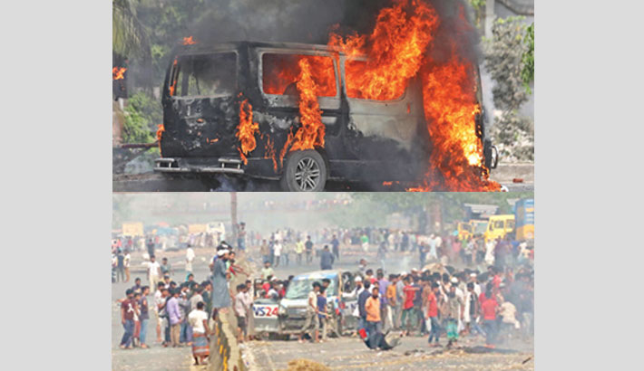 Hefajat-e-Islam sets fire to a car during a hartal at Sanarpar in Narayanganj