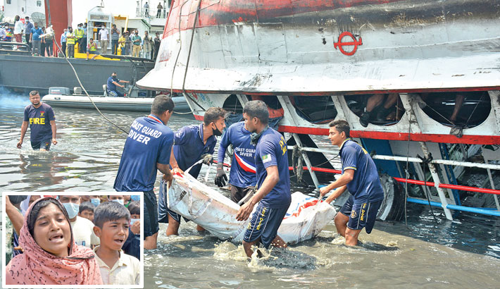 Divers on Monday are retrieving the bodies of passengers from the launch which sank in the Shitalakshya River