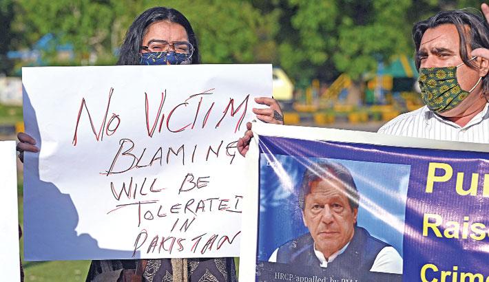 A protest against Pakistani Prime Minister Imran Khan's
